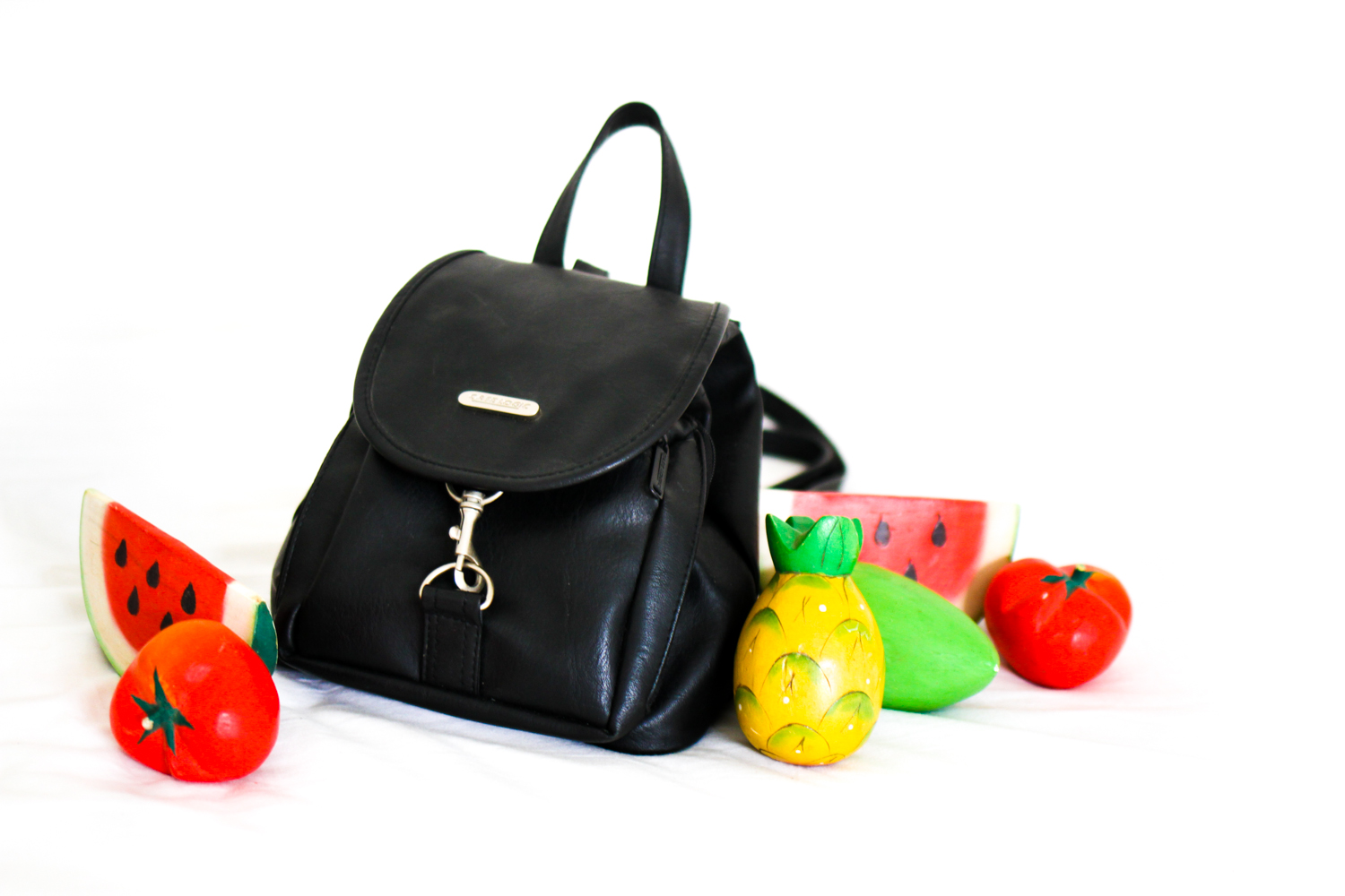 nemesis babe new in leather backpack and wooden fruit