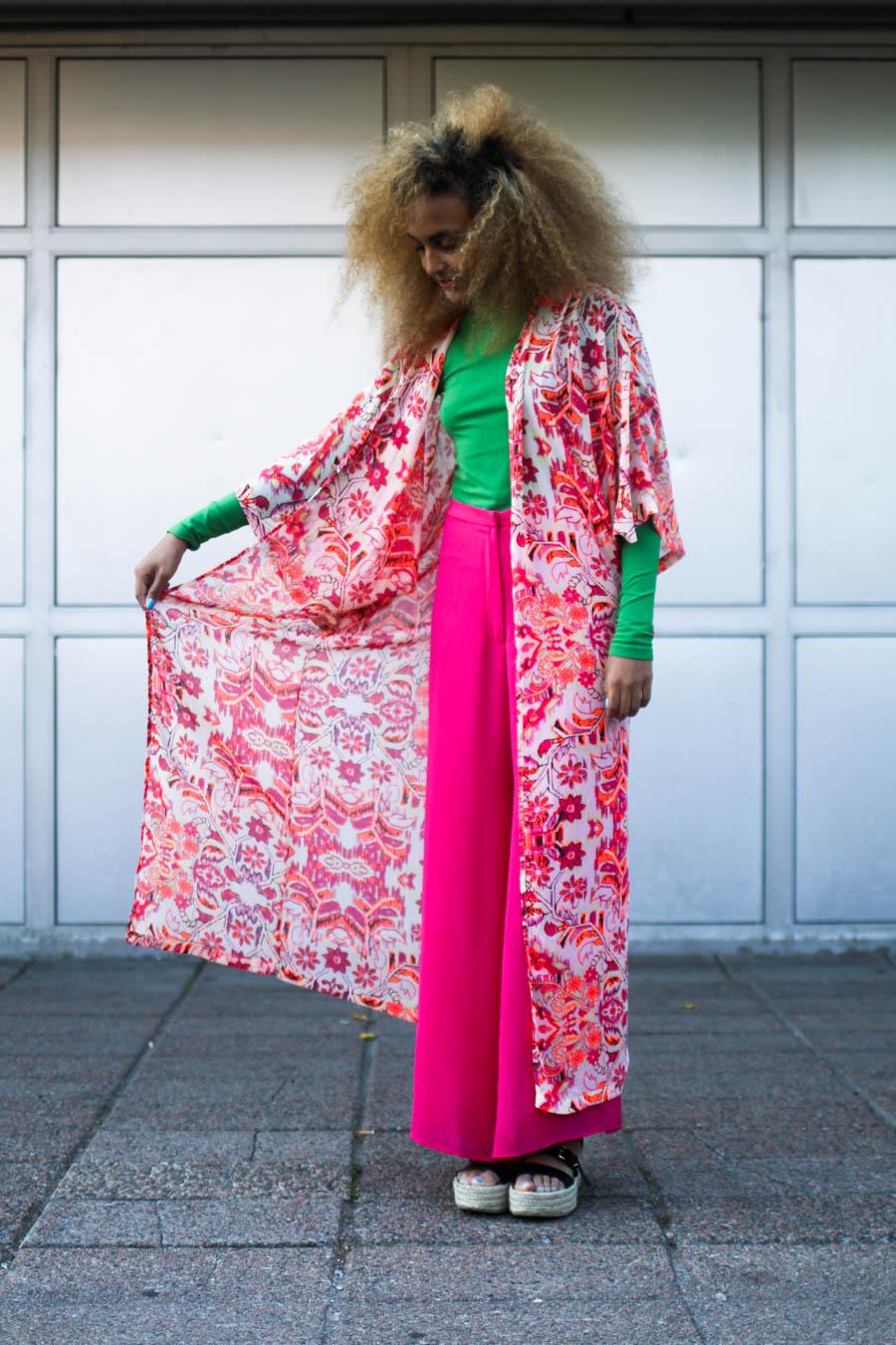 fatima osman kimono pink green