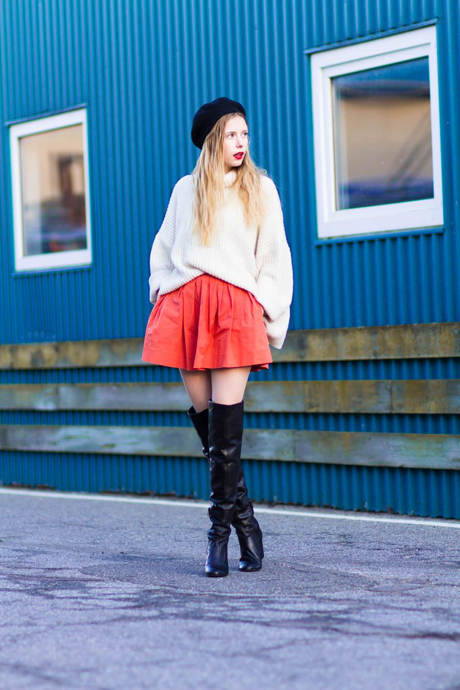 outfit december nemesis babe marie jensen danish blogger thigh high boots sarenza zara orange skirt vintage sweater and beret-3