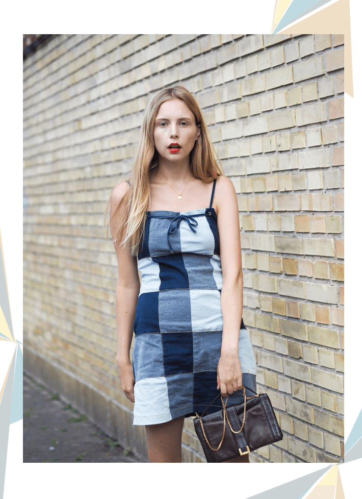 coll outfit 1 patchwork denim dress