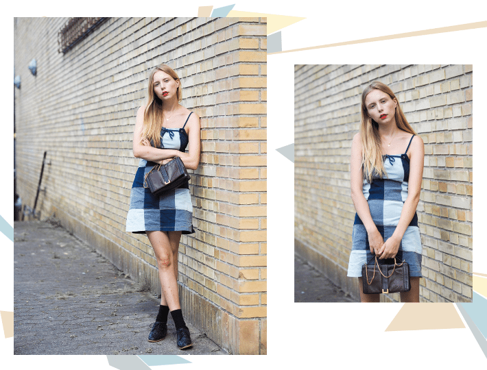coll outfit 3 patchwork denim dress