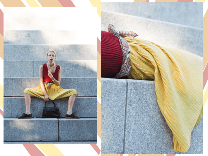 red yellow outfit collage 3